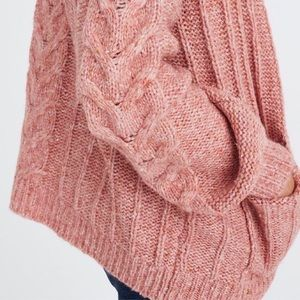 Madewell Blush Cable-knit Bubble Sleeve Cardigan